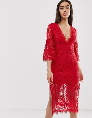 Love Triangle lace midi dress with fluted sleeves