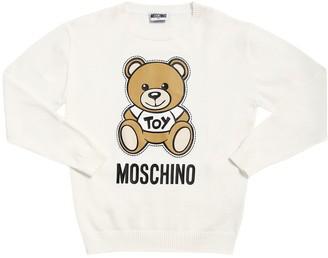 Moschino Bear Patch Cotton Knit Sweater