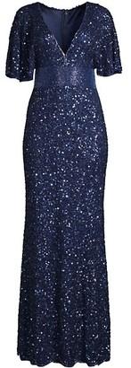 Mac Duggal Damask Short-Sleeve Sequin Column Gown