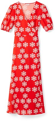 Phoebe Grace Joyce V-Neck Maxi Wrap Puff Sleeved Dress In Red Daisy