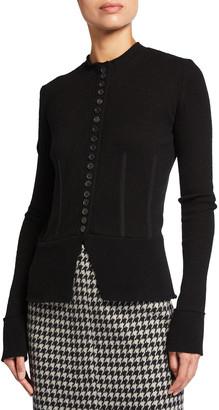 Agnona Wool-Cashmere Button-Front Knit Jacket