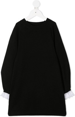Chloé Kids Lace Cuff Knitted Dress