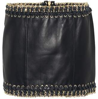 Balmain Leather embellished miniskirt