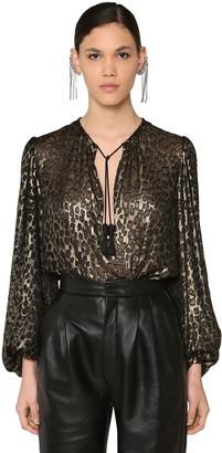 Saint Laurent Leopard Silk & Viscose Devore Shirt