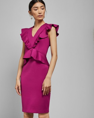 Ted Baker ALAIR Ruffle peplum bodycon dress