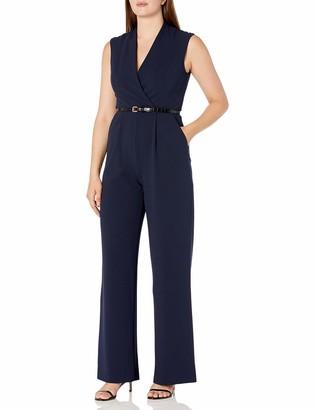 Calvin Klein Women's Solid V Neck Belted Jumpsuit