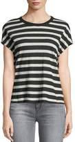 RtA Dawn Crewneck Cap-Sleeve Striped Cotton-Cashmere Top