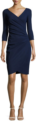 Chiara Boni Emertiene 3/4-Sleeve Wrap-Style Cocktail Dress, Navy