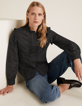 Marks and Spencer Pure Cotton Polka Dot High Neck Blouse