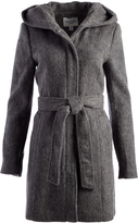 Cole Haan Dark Gray Hooded Wool-Blend Trench Coat