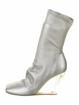 Rick Owens Metallic Leather Wedge Boots Silver