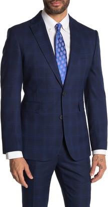Moss Bros Medium Blue Plaid Two Button Notch Lapel Tailored Fit Suit Separates Jacket