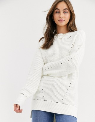 Abercrombie & Fitch oversized high neck knit-Cream