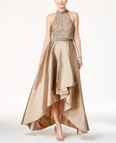 Adrianna Papell Beaded High-Low Gown