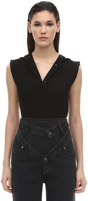 Y/Project Sleeveless Cotton Jersey Polo Bodysuit