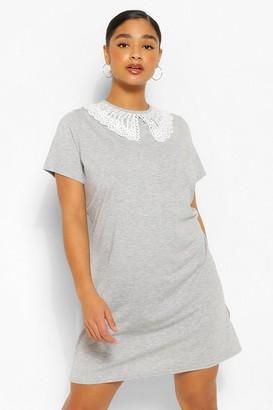boohoo Plus Collar Detail T-Shirt Dress