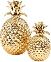 Twos Company Golden Hospitality Pineapple Ceramic Jars (Set of 2)