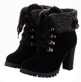 YE Women's Block High Heels Platform Suede Lace up Ankle Boots With Buckles and Fur Autumn Winter Shoes