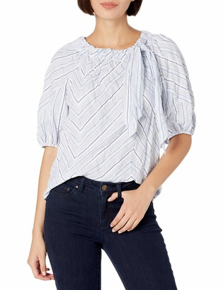 Rebecca Taylor Women's Short Sleeve Stripe Tie Top