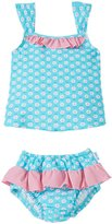 I Play 2 Piece Ruffle Tankini Swimsuit Set (Baby/Toddler) - Aqua Daisy - 18 Months