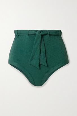 Peony Swimwear Belted Floral-jacquard Bikini Briefs - Emerald
