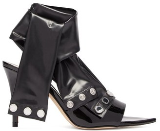 Christopher Kane Latex-strap Patent-leather Mules - Black
