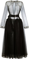 Givenchy sheer tulle belted dress - women - Polyester/Wool/Acetate/Brass - 36