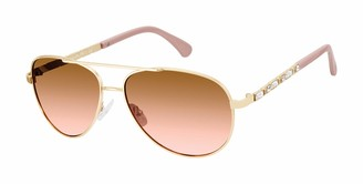 Tahari Women's TH737 Aviator Sunglasses Adorned with Rhinestone Crystals & 100% UV Protection 60 mm