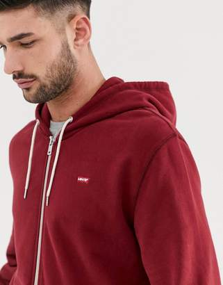 Levi's original small batwing logo full zip hoodie in warm cabernet-Red