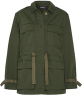 Theory Thornwood Grosgrain-trimmed Cotton-twill Jacket - Army green