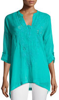 Johnny Was Lusana Georgette Embroidered Blouse, Petite