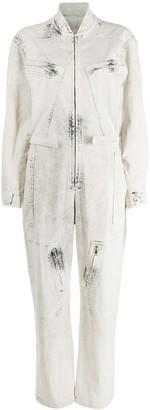 Stella McCartney Bleached Denim Zipped Jumpsuit