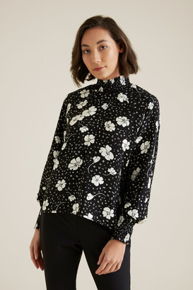 Seed Heritage Shirred Floral Blouse
