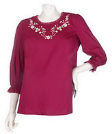 As Is Denim & Co. 3/4 Sleeve Embroidered Woven Tunic