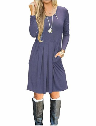AUSELILY Women's Long Sleeve Pleated Loose Swing Casual Dress with Pockets Knee Length(Black Rose Black 12-14)