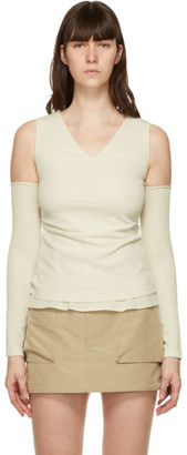 ANDERSSON BELL Off-White Cut-Off Drape Long Sleeve T-Shirt