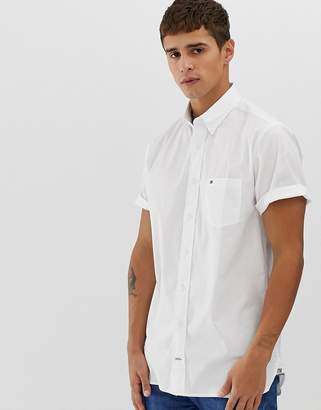 Tommy Hilfiger short sleeve button down poplin shirt stretch fit with pique flag logo in white