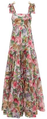 Zimmermann - Mae Floral-print Cotton-voile Maxi Dress - Pink Multi