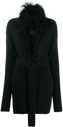 D-Exterior Knitted Belted Cardigan