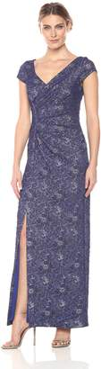 JS Collections Women's Cap Sleeve Knit Brocade Rouched Gown