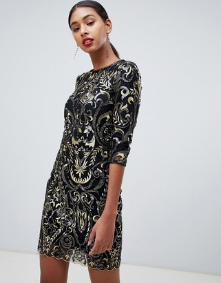 TFNC patterned sequin mini bodycon dress with scallop open back in black