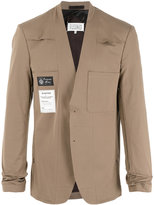 Maison Margiela collarless patch blazer - men - Cotton/Spandex/Elastane/Viscose - 46
