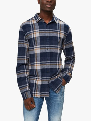 Selected Regunar Long Sleeved Large Check Shirt, Burro