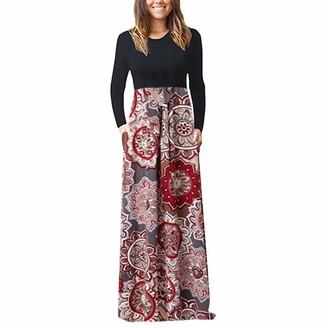 Momoxi Women's Print Vintage Beach Maxi Dress W/ Pocket L