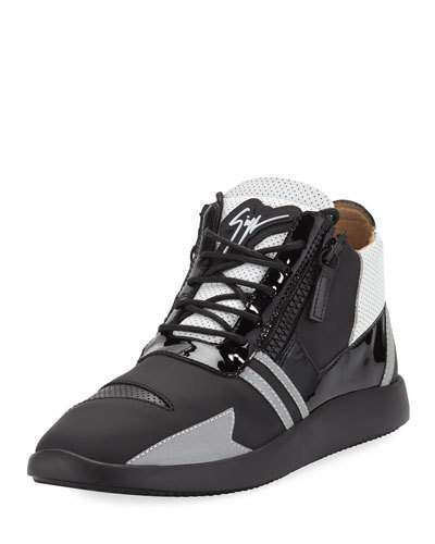Giuseppe Zanotti Men's Runner Mid-Top Perforated-Leather Sneakers