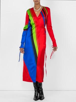 ATTICO Printed Satin Robe Dress