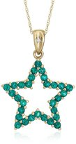 """Amazon Collection 10k Yellow Gold, May Birthstone, Created Emerald Star Pendant, 18"""""""