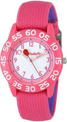 "EWatchFactory Red Balloon Kids' W001895 ""Time Teacher"" Plastic Watch with Adjustable Pink Nylon Strap"