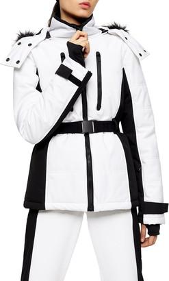 Topshop SNO Faux Fur Trim Ski Jacket
