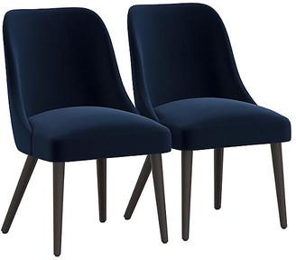 One Kings Lane Set of 2 Barron Side Chairs - Navy Velvet
